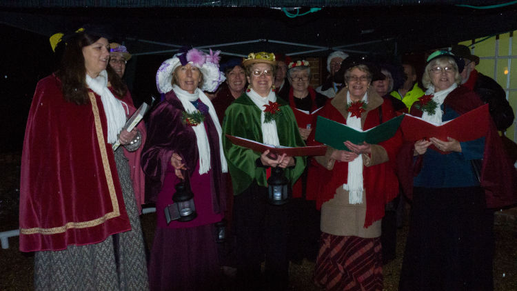 Singing carols at Whitchurch Silk Mill